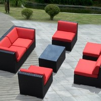 Ohana 7-Piece Outdoor Wicker Patio Furniture Sectional Conversation Set with Weather Resistant Cushions, Red (PN0703R)