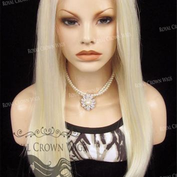 "24 inch Heat Safe Synthetic Straight Texture Lace Wig Front ""Aphrodite"" in White/Platinum Blonde Mix"