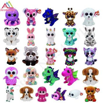 sermoido TY Beanie Boos Darla Dragon and Leopard Plush Doll Toys for Girl Rabbit Fox Cute Animal Owl Unicorn Cat Dog DBP116