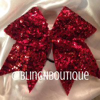 Red Hot Mama - Red Sequin Cheer Bow