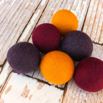 Felted Wool Dryer Balls - Eco-Friendly Laundry Balls - Chemical Free fabric softener - cat toys - static free laundry - felted laundry balls