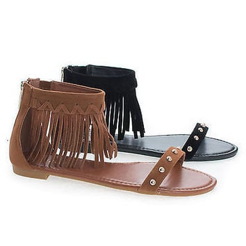 Candice53M Moccasin Open Toe Studded Ankle Fringe Cuff Flat Sandals