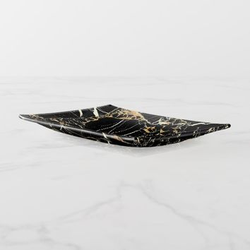 Black Marble Gold Veins Trinket Trays