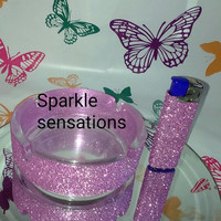 Glittered lighter with matching ashtray