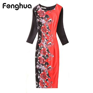 Fenghua Winter Dress Women Casual Plus Size Floral Print Office Dress Female Vintage Elegant Slim Pencil Dress 4XL