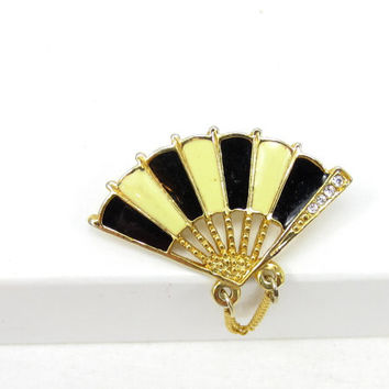 Small Black White Fan Rhinestone Lapel Pin Brooch Asian Small Christmas Gift Idea Designer Signed Vintage Estate Shawl Scarf Pin