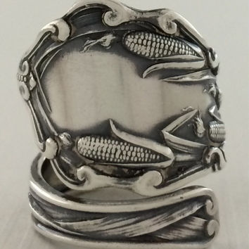 Size 7 Vintage Sterling Silver Corn Spoon Ring