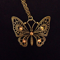 Antiqued bronze ornate butterfly with topaz swarovski crystal rhinestone pendant necklace