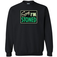 "Zexpa Apparelâ""¢ Sorry I'm Stoned Unisex Crewneck Dope Weed Smoker Funny Cool Sweatshirt"