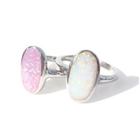 Sterling Silver Opal Inlay Rings - Pink or White
