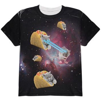 DCCKJY1 Taco Galaxy Cat All Over Youth T Shirt