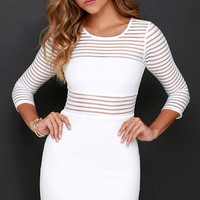 Perfect Mesh Ivory Bodycon Dress