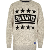 River Island Boys grey Brooklyn star flock sweatshirt