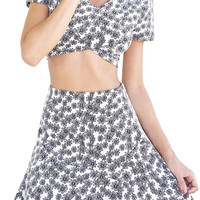 Black and White Daisy Crop Top And High Waist Skirt Set
