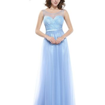 Women's Sexy Ice Blue Prom Dresses Ever Pretty HE08833IB Sexy V-neck back design Wedding Vestidos De Desta Longo Prom Dresses