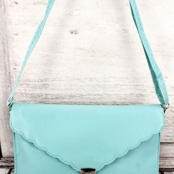 LIGHT BLUE SCALLOPED ENVELOPE CLUTCH BAG