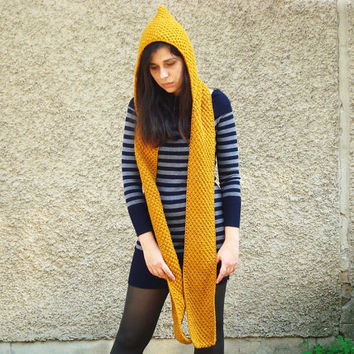 Knit hooded scarf - mustard yellow scarf with a hood - chunky scoodie - women winter accessory