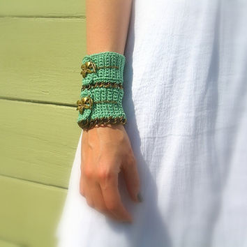 Sage Green Cuff, Wedding Bracelet, Crochet, Cotton Yarn, Floral Toggle Clasp, Brass Chain, Handmade