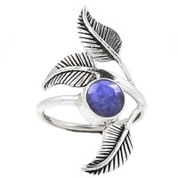 Sapphire Sterling Silver Leaf Ring