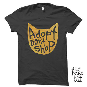 Adopt Don't Shop T-shirt, Unisex, Charcoal Grey and Gold Foil, Cat Lover Graphic T, Cat Lady Gift, Animal Lover, Kitty Cat