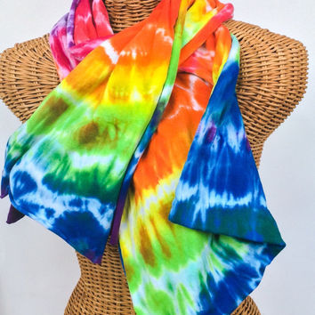 Tie Dye Rainbow Jersey Scarf Sash READY TO SHIP