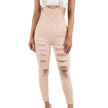Women's Destroyed Skinny Overalls RJHO424 - C7C