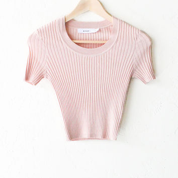 Scoop Neck Sweater Knit Crop Top - Rose