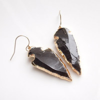 Black Arrowhead Earrings - Black Obsidian - OOAK Jewelry