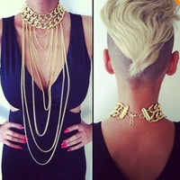 New punk exaggerated chunky gold chain choker necklace multilayer long chains tassel body necklace jewelr