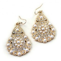 Pair Of Stunning Style Waterdrop Shape Pearl and Rhinestone Embellished Earrings For Women