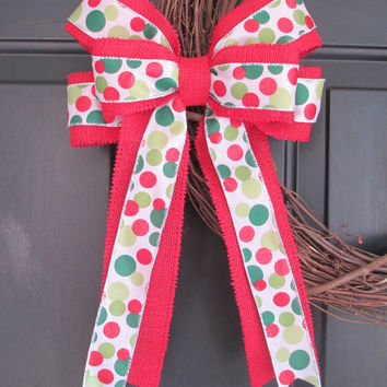 Red Green White Polka Dot over Red Burlap Bow, DIY Wreath Change Out, Home Door Floral, Fall Winter Christmas Holiday, Rustic Shabby Chic