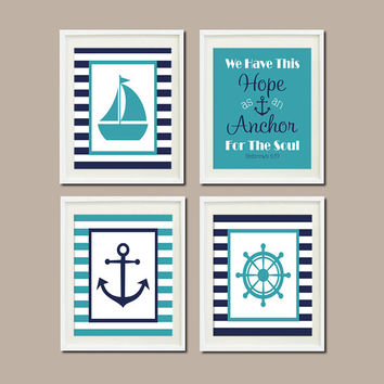 Nautical Nursery Decor Wall Art Navy Anchor Sailboat Wheel Hebrews 6:19 Verse Set of 4 Prints Boy Bedroom Bathroom Playroom Decor Picture