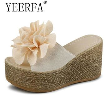 LMFIW1 Summer Platform Wedges Flip Flops Women Flowers Beach Sandals Fashion Casual Mid Heels