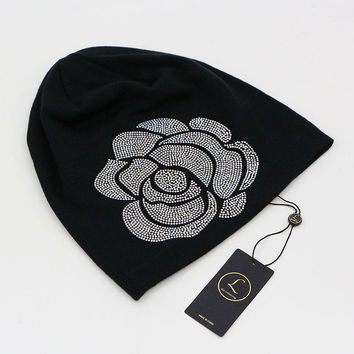 2016 Soft Black Beanies For Women Cotton Slouchy Diamond Beanie Hats For Women Floral Rose Long Beanies Autumn Winter Women Hat