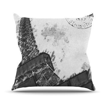 "Oriana Cordero ""Bonjour Mon Amour"" Grey Eiffel Throw Pillow"