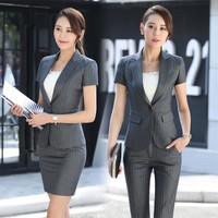 Elegant Grey Striped Formal Professional Business Women Suits With Jackets And Pants
