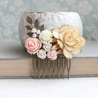 Ivory Rose Bridal Hair Comb Shabby Country Wedding Romantic Head piece Floral Collage Large Rose Ivory Pink Antique Gold Brass Leaf Leaves