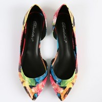 Breckelle's Deon-03 Brushed Floral Flats | MakeMeChic.com