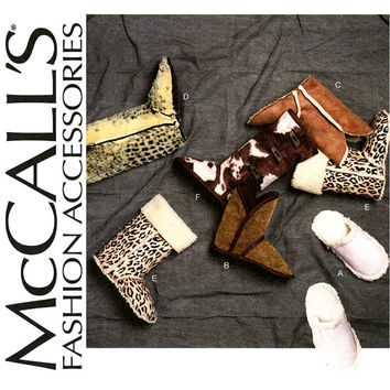 Slippers and Booties Pattern UNCUT McCalls M6449 UNISEX Scuffs Uggs Mucklucks Sherpa Boots Footwear for Men Women and Kids Sewing Pattern