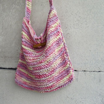 Organic Cotton Knitted Crossbody Bag - Summer Beach  Bag -  Pink Melange - Boho - Hippy - Rustic - Eco Friendly - Gift for Her