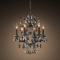 19Th C. Rococo Iron & Crystal Chandelier Smoke Small