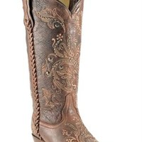 Corral Women's Floral Whip Stitch Brown Cowgirl Boots | Corral Boots