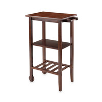 Winsome Trading Stevenson Bar and Wine Cart in Antique Walnut