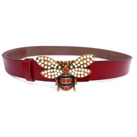 MoYoTo Women 1.10″ Thin Genuine Leather Fashion Bee Designer Buckle Belt With Pearl