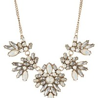 Multi Faceted Stone Bib Necklace by Charlotte Russe