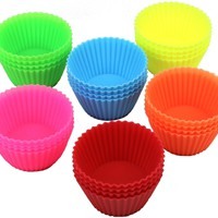 Silicone Baking Cups Cupcake Liners Muffin Cups Non-Stick Molds Reusable 24-Pcs