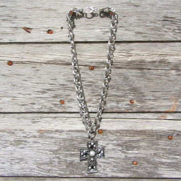 Cross cowgirl necklace bling silver gold country girl pendant