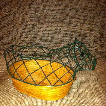 Vintage basket with Cow Wire - Green embellishment for egg storage or knick knacks - makes a great container to conceal some brownies.