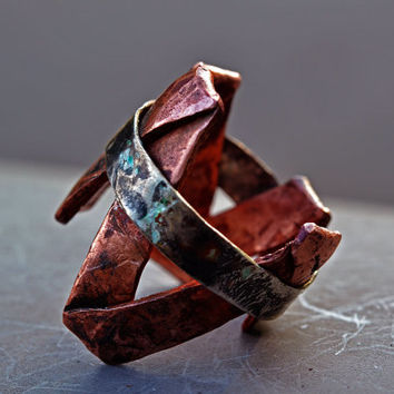 Tribal  Inspired Copper  / Sterling Silver Jewelry - Jagged Edge Mixed Metal Ring, Double Band Ring, Rugged / Oxidized Finish