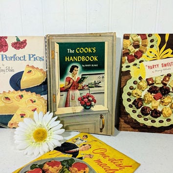Cookbooks Collection of 4 by Mary Blake The Cooks Handbook; Perfect Pies; Party Sweets; One-Dish Meals Recipe Booklets ©1951-54 Carnation Co